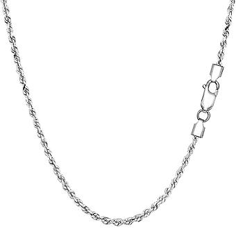 Sterling zilveren Rhodium Plated Diamond Cut Rope Chain ketting, 1, 8mm