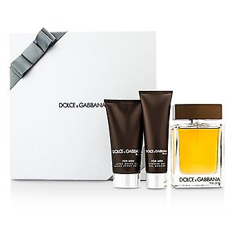 Dolce & Gabbana The One Coffret: Eau De Toilette Spray 100ml/3.3oz + After Shave Balm 75ml/2.5oz + Shower Gel 50ml/1.6oz (Silver Box) 3pcs