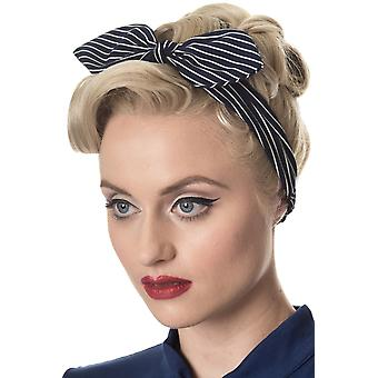 Banned Navy Brandy Pinstripe Headscarf