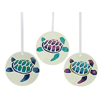 Nautical Coastal Sea Turtle Suncatcher Glass Ornament Set of 3 Assorted