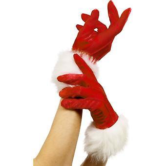 圣诞老人手套妇女圣诞老人圣诞女人红色与毛皮