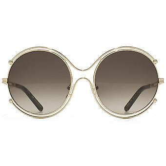 Chloe Isadora Round Sunglasses In Gold Khaki