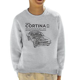 Haynes eigenaren Workshop handmatige Ford Cortina zwart Kid's Sweatshirt