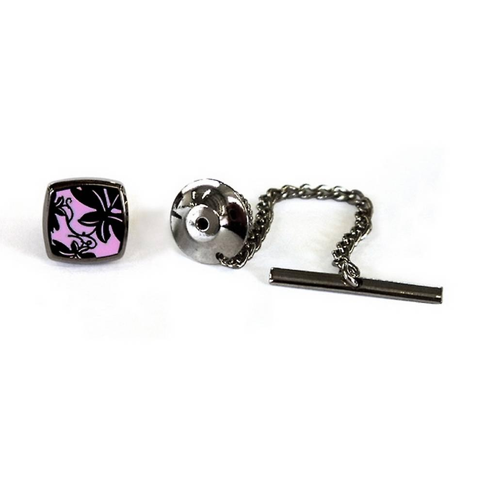Tyler and Tyler Black Metal Vine Tie Pin - Pink