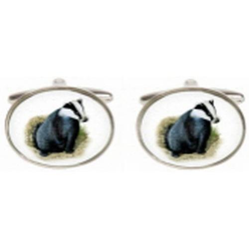 David Van Hagen Badger Image Cufflinks - Silver