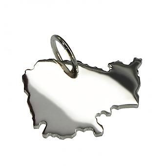 Trailer map Cambodia pendant in solid 925 Silver