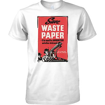 WW2 US Military Propoganda Poster - Save Waste Paper - Kids T Shirt
