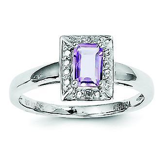 Sterling Silver Rosa Amethyst diamantring - Ring storlek: 6-9