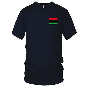 Nationalflagge Libyen Land - Stickerei Logo - 100 % Baumwolle T-Shirt Herren T Shirt