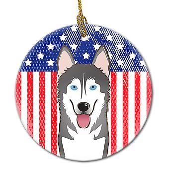 Amerikanske flagg og Akk Malamute keramiske Ornament