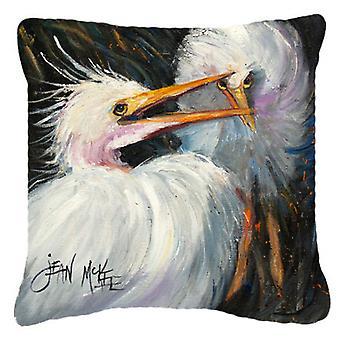Carolines Treasures  JMK1213PW1818 White Egret Canvas Fabric Decorative Pillow