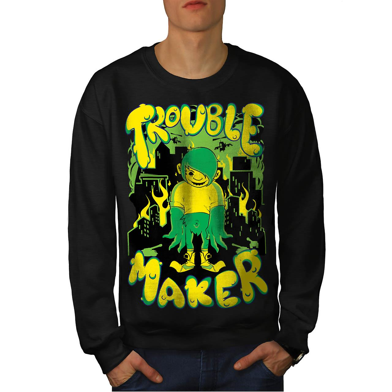 Trouble Maker Art Fashion Men Black Sweatshirt | Wellcoda