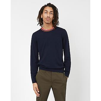Paul Smith Crew Neck Knitted Jumper With Contrast Collar Navy