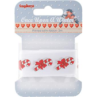 ScrapBerry's Once Upon A Winter Printed Satin Ribbon-White W/Candy Canes, 25mmX2m 390419B