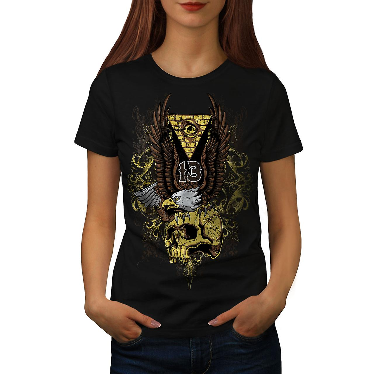 Illuminati Eagle Skull Women Black T-shirt | Wellcoda