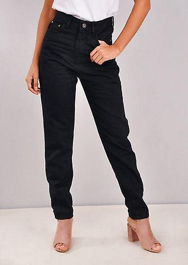 High Rise Denim Mom Jeans noir