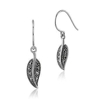 Gemondo Sterling Silver 0.20ct Marcasite Art Nouveau Leaf Drop Earrings