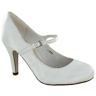 Ladies Womens Ivory Satin Wedding Bridal Ankle Strap Bar Courts Shoes