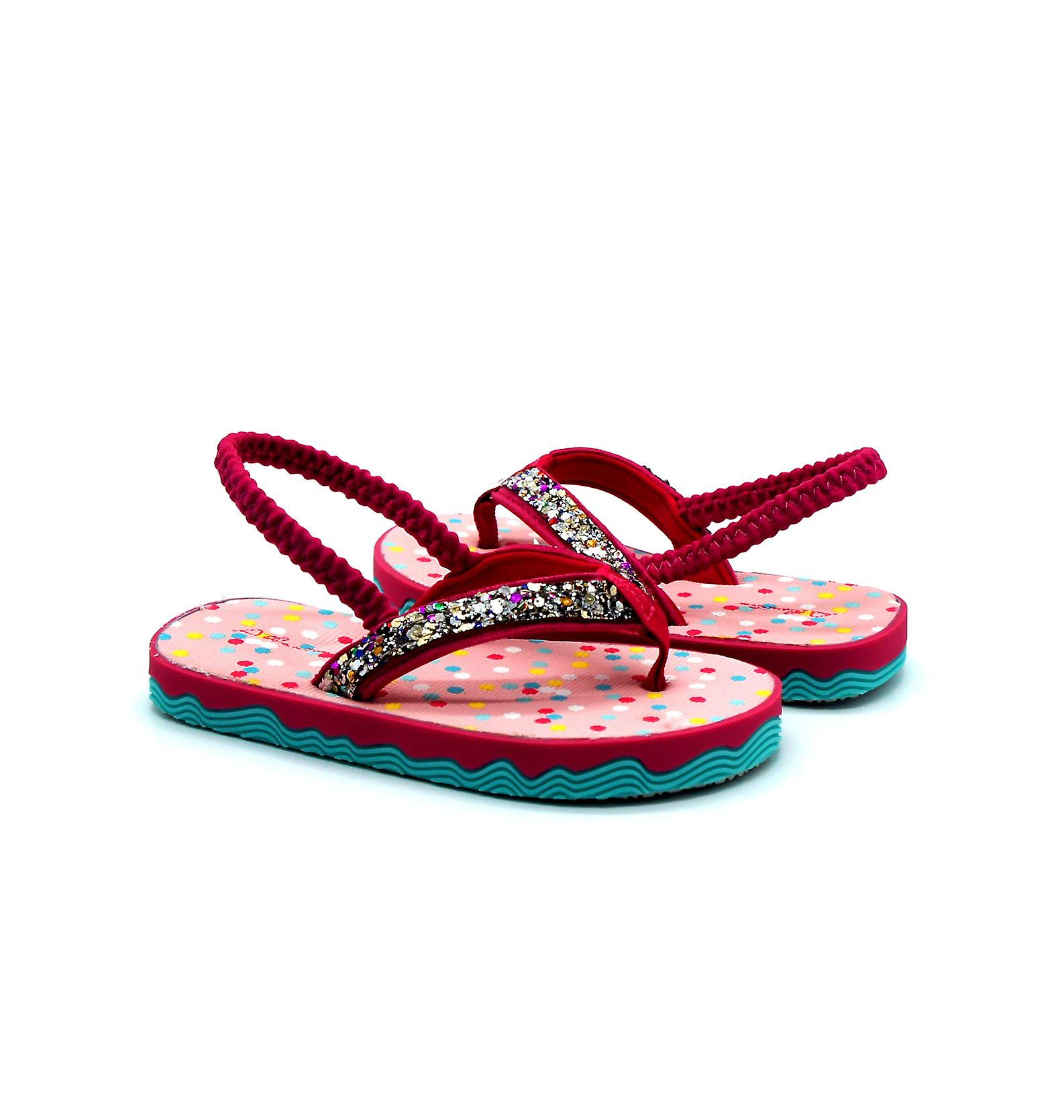 Atlantis Shoes Kids Girls Supportive Cushioned Comfortable Sandals Flip Flops Twinkle Fuchsia Pink