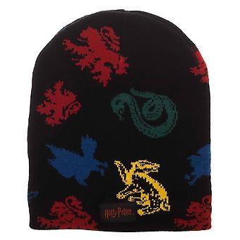 Harry Potter Beanie Hogwarts House Mascots Magic Jacquard new Official