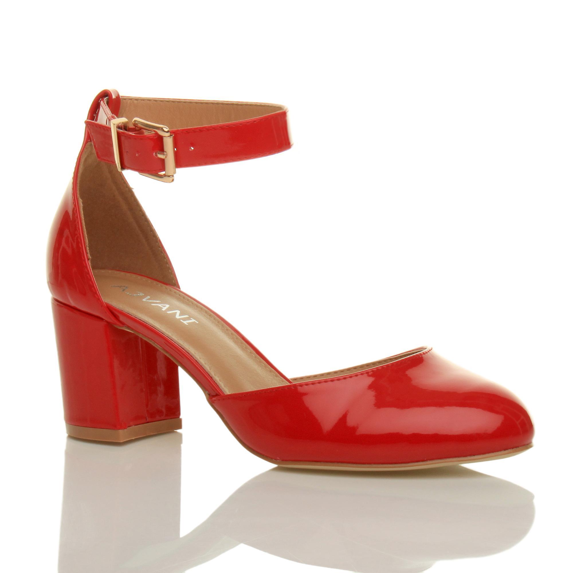 Ajvani womens low mid block heel ankle strap mary jane Value court shoes sandals: Excellent Value jane :Mr/Ms 69e97f