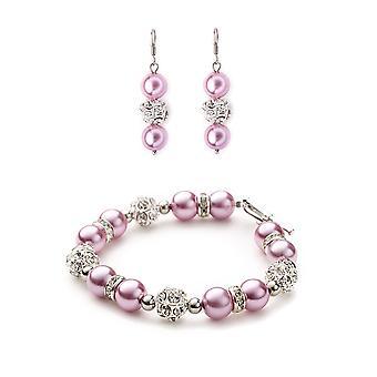 Set Bracelet and earrings pearls Roses, Crystal