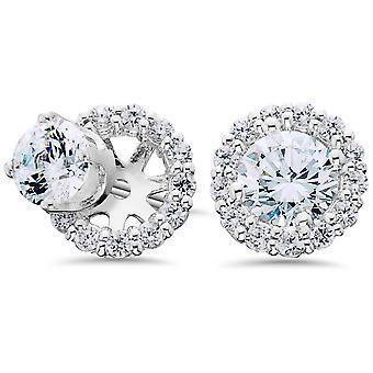 G/SI 3/4ct Diamond Studs & Earring Halo Jackets 14k White Gold