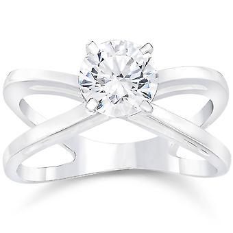 1ct rund geschliffenen Diamanten Solitär Verlobungsring 14k White Gold