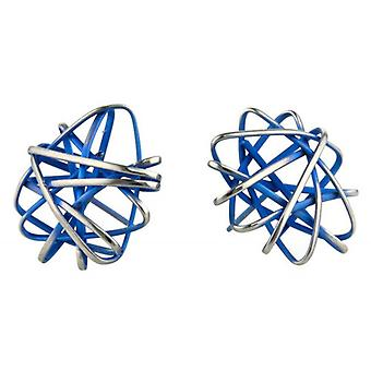 Ti2 Titanium Round Cage Chaos Stud Earrings - Navy Blue