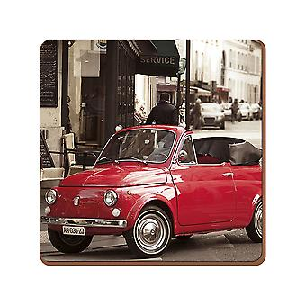 Everyday Home - Retro Fiat Cork-Backed Coasters - Multi-coloured - 4 Pieces
