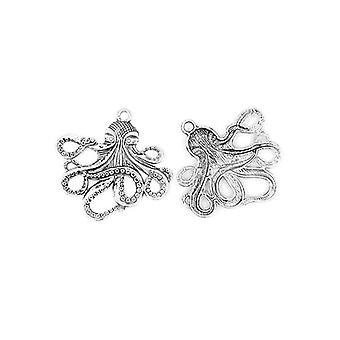 1 x Antique Silver Tibetan 57mm Octopus Charm/Pendant ZX02130