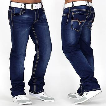 Herren Jeans Hose Designer Used Destroyed dicke Naht Clubwear - Royal Flush