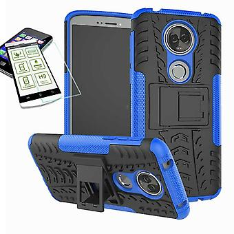 For Motorola Moto E5 plus hybrid sag 2 stykke blå + skudsikre taske tilfælde dække ærme