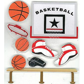 Jolee's Boutique Dimensional Stickers-Basketball