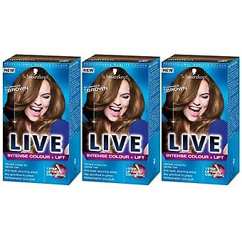 Schwarzkopf 3 X Schwarzkopf LIVE Intense Colour + Lift - Luminous Brown (L54)