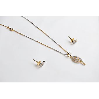 Cubic Zirconia & Gold Plated Earrings and Necklace Set