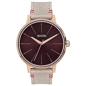 Nixon The Kensington Leather Watch - Rose Gold/Brown