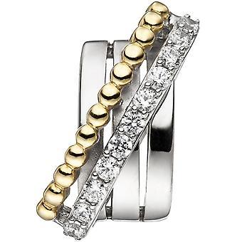 Złota zawieszka pozłacane 925 Sterling Silver Pendant z cyrkonia srebro bicolor