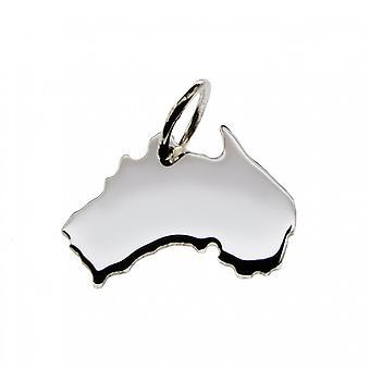 Anhänger Landkarte AUSTRALIEN Kettenanhänger in massiv 925 Silber