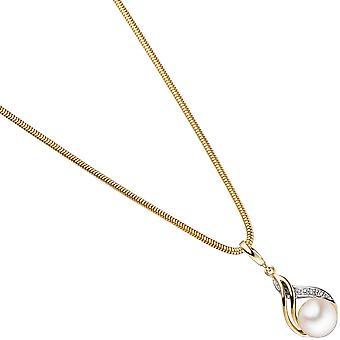Anhänger 585 Gold Gelbgold teilrhodiniert 1 Süßwasser Perle 1 Diamant Brillant