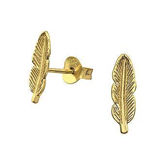 Feather - 925 Sterling Silver Plain Ear Studs - W31750X