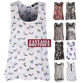 Camicia camicetta da donna con animali - Chiffon - Senza maniche smanicata
