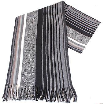 Bassin and Brown Harris Striped Wool Scarf - Black/Grey