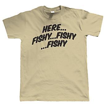 Here Fishy Fishy Fishy Mens Funny Fishing T Shirt - Gift for Dad
