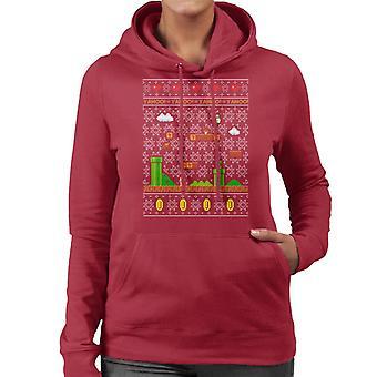 Super Mario Platform Christmas Knit Pattern Women's Hooded Sweatshirt