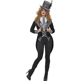 Costume Cappellaio di Dark Miss Deluxe, nero, con giacca, gilet, Papillon & cappello