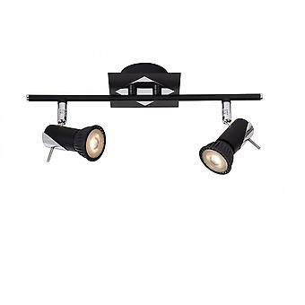 Lucide Brackx-LED moderna retangular Metal preto e cromado, Spot de luz de teto