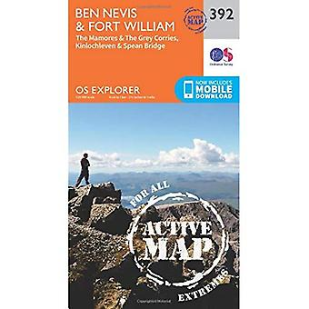 OS Explorer Map Active (392) Ben Nevis and Fort William, The Mamores and The Grey Corries, Kinlochleven and Spean...