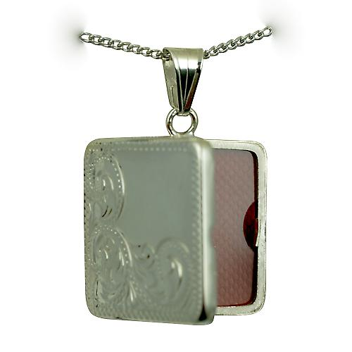 Silver 22mm half hand engraved flat square Locket with a curb Chain 22 inches
