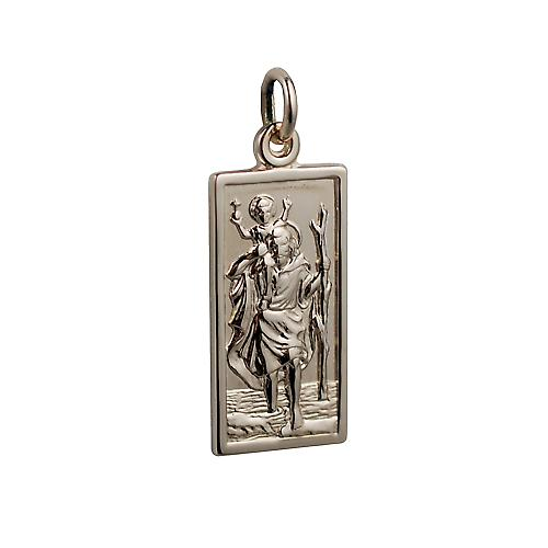 14ct yellow gold on Silver 1/20th 26x13mm rectangular St Christopher Pendant